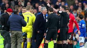 Carlo Ancelotti was sent off after the final whistle (Peter Byrne/PA)