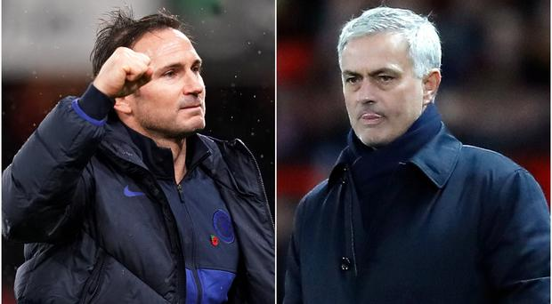 Chelsea manager Frank Lampard takes on former boss Jose Mourinho at Tottenham on Sunday (PA)