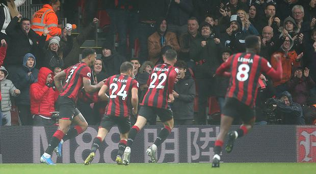 Joshua King celebrates scoring Bournemouth's winner (Mark Kerton/PA)