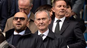 Richard Scudamore, centre, has admitted the Premier League is 'lagging behind' in youth development.