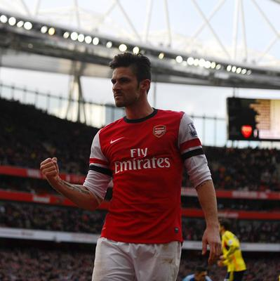 Olivier Giroud netted twice in Arsenal's thumping win