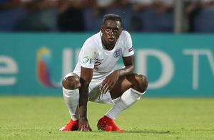 Aaron Wan Bissaka appears dejected after his injury-time own goal saw England Under-21s lose to France (Nick Potts/PA)