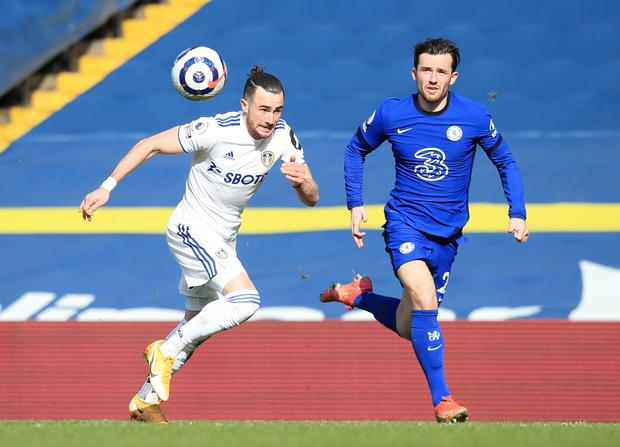 Jack Harrison, left, is in his third season on loan at Leeds from Manchester City (Lindsey Parnaby/PA)