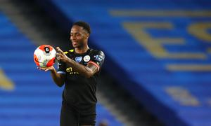 Raheem Sterling with the match ball (Catherine Ivill/NMC Pool/PA)