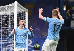 Phil Foden and Kevin De Bruyne were both on the scoresheet as Manchester City defeated Chelsea at Stamford Bridge (Andy Rain/PA)