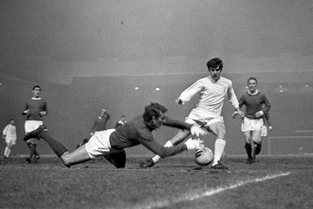 Lorimer is denied by Manchester United goalkeeper Alex Stepney (PA)