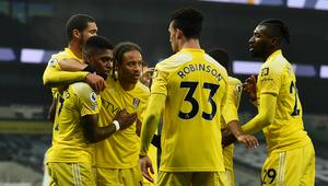 Fulham players celebrating with Ivan Cavaleiro, second left, after his goal (Glyn Kirk/PA)