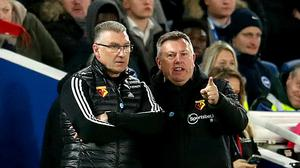 Watford manager Nigel Pearson (left) and assistant Craig Shakespeare have been tasked with keeping the club in the Premier League this season. (Adam Davy/PA)