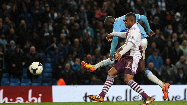 Toure charged upfield to score against Villa