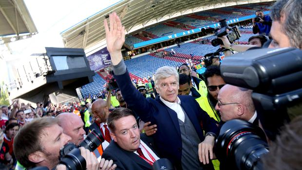 Outgoing Arsenal manager Arsene Wenger waved goodbye to the fans