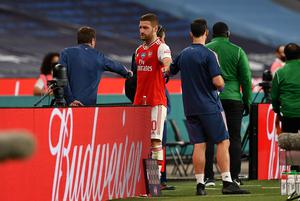 Shkodran Mustafi limped out of Arsenal's FA Cup semi-final win over Manchester City with a hamstring injury. (Justin Tallis/PA)