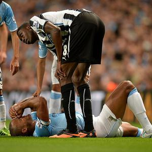 Vincent Kompany suffered a groin injury during Manchester City's convincing victory over Newcastle