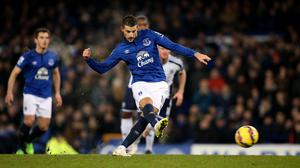 Everton's Kevin Mirallas misses from the penalty spot