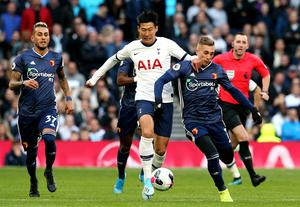 Watford's Gerard Deulofeu, right, was denied a clear penalty against Spurs (PA)