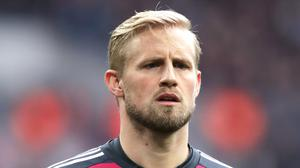 Leicester goalkeeper Kasper Schmeichel has spoken to Claude Puel about his father's comments (John Walton/PA)