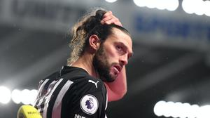 Andy Carroll scored his first Newcastle goal in more than 10 years against Leicester (Michael Regan/PA)