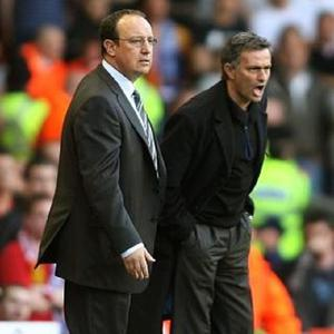 Jose Mourinho, right, has been tipped to replace Rafael Benitez, left, at Chelsea