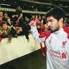 Luis Suarez acknowledges Liverpool fans after last month's match with Melbourne Victory