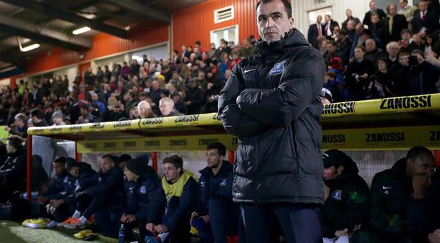 Everton manager Roberto Martinez on the touchline prior to kick-off during the FA Cup, Fourth Round match at the Lamex Stadium, Stevenage on Saturday January 25, 2014. Everton head to Anfield tonight to face a Liverpool side that sits one point above them in the Premier League