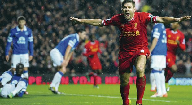 Captain fantastic: Steven Gerrard has been in inspirational form of late, with four goals in March to keep Liverpool's title bid right on track