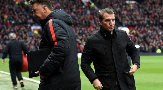 Painful defeat: Brendan Rodgers looks glum after another loss, this time at Old Trafford to Man United