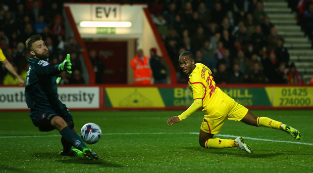 Back of the net: Raheem Sterling opens the scoring for Liverpool last night