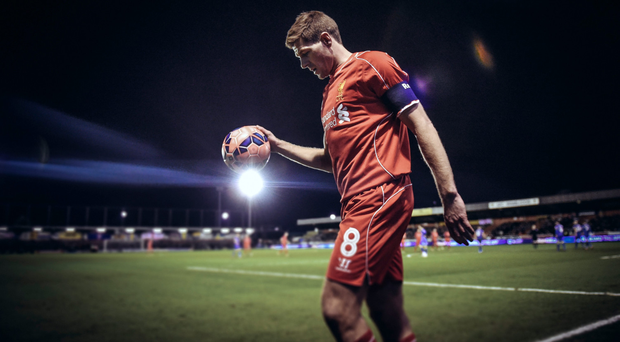 On the ball: Steven Gerrard is on his way from Liverpool to LA but his departure is leaving fans with a sour taste.