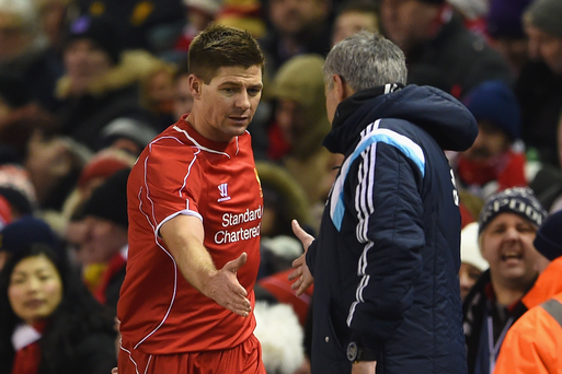 Shake on it: Jose Mourinho is sad to be facing Steven Gerrard for the last time