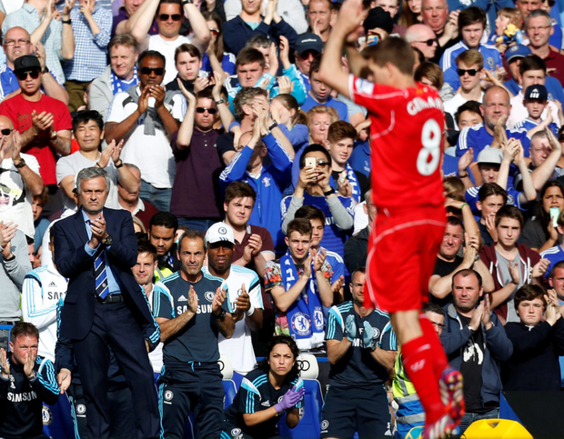 Applause all round: Jose Mourinho leads the praise of Gerrard