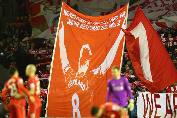 A Steven Gerrard banner honours one of the Liverpool's greatest servants