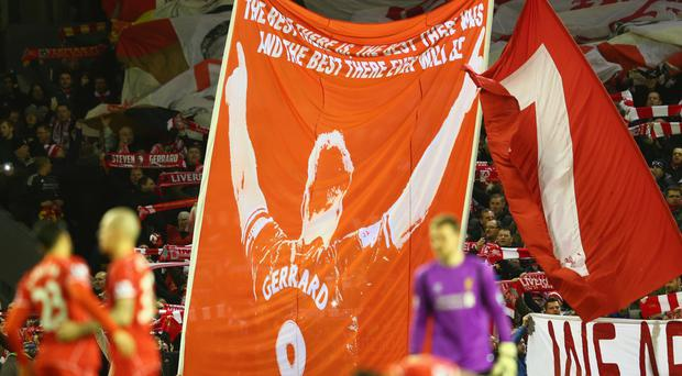 A Steven Gerrard banner honours one of the club's greatest servants