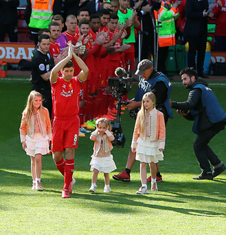 Final act: Steven Gerrard and his kids receive a guard of honour