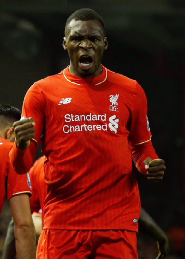 Victory roar: Christian Benteke hails his crucial strike against Leicester after coming on as a substitute