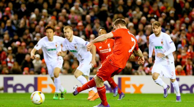 James Milner tucks away an early penalty to send Liverpool through to the Europa League Round of 16