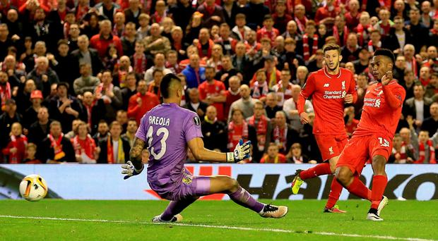 Pivotal: Daniel Sturridge gets the better of Villarreal goalkeeper Alphonse Areola to give Liverpool an aggregate advantage
