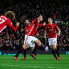 Manchester United's Zlatan Ibrahimovic (centre) celebrates scoring his side's first goal during the Premier League match at Old Trafford, Manchester.