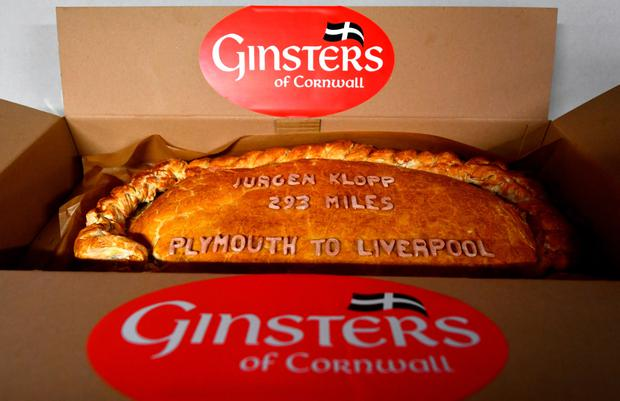 The Giant Cornish pasty made for Jurgan Klopp by the Plymouth Argyle sponsors