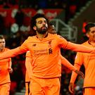 Main man: Mohamed Salah after netting the first of his double