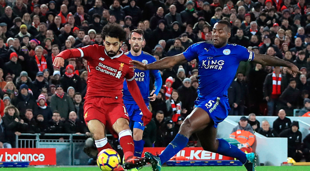 Injury fear: Salah limped off after scoring twice against Foxes
