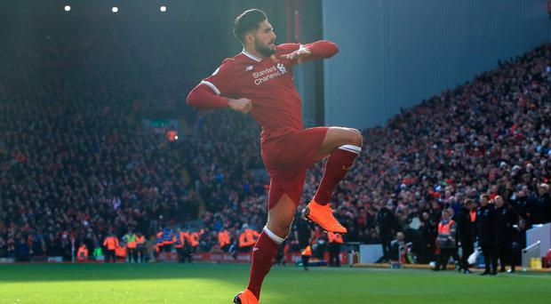 Liverpool's Emre Can celebrates scoring his side's first goal of the game