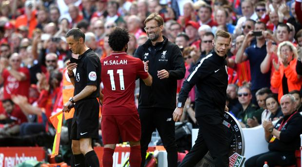 No worries: Jurgen Klopp says his striker Mo Salah has been playing well this term