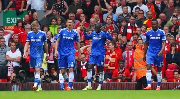 Turning point: Demba Ba celebrates after taking advantage of Steven Gerrard's slip