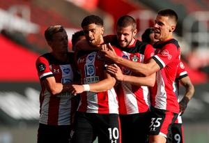 Magic touch: Che Adams is mobbed after his stunning strike