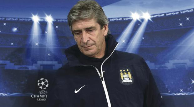 Manchester City coach Manuel Pellegrini at yesterday's press conference