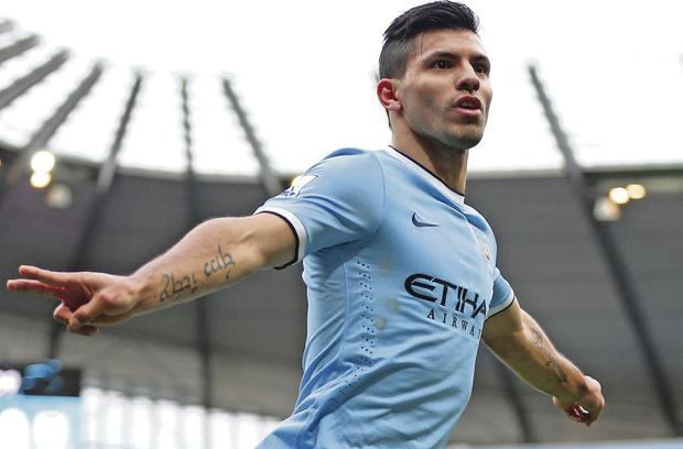 Sergio Aguero scored within a minute on his return from injury