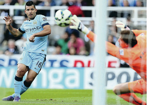 Eyes on the prize: Sergio Aguero plays a starring role for Chelsea