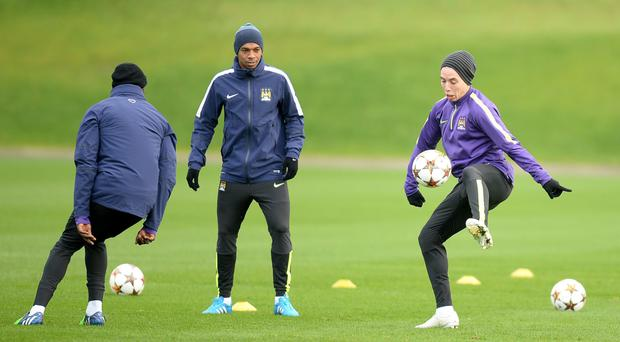 Big moment: Samir Nasri trains ahead of the crucial clash with Bayern Munich