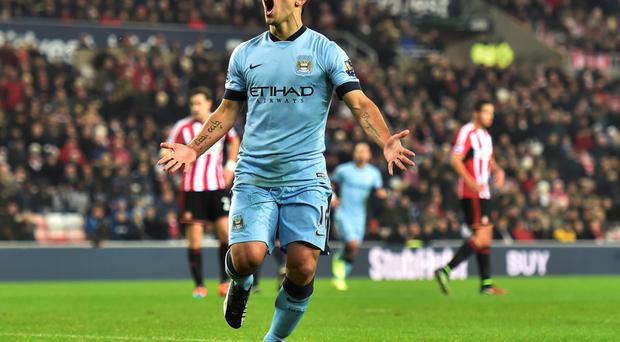 On target: Sergio Aguero has scored five times in City's four successive wins