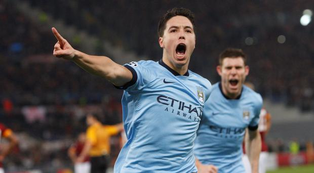 Hot shot: Samir Nasri scored a spectacular goal against Roma