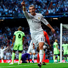 Gareth Bale sets off in celebration following Real Madrid's breakthrough goal against Manchester City